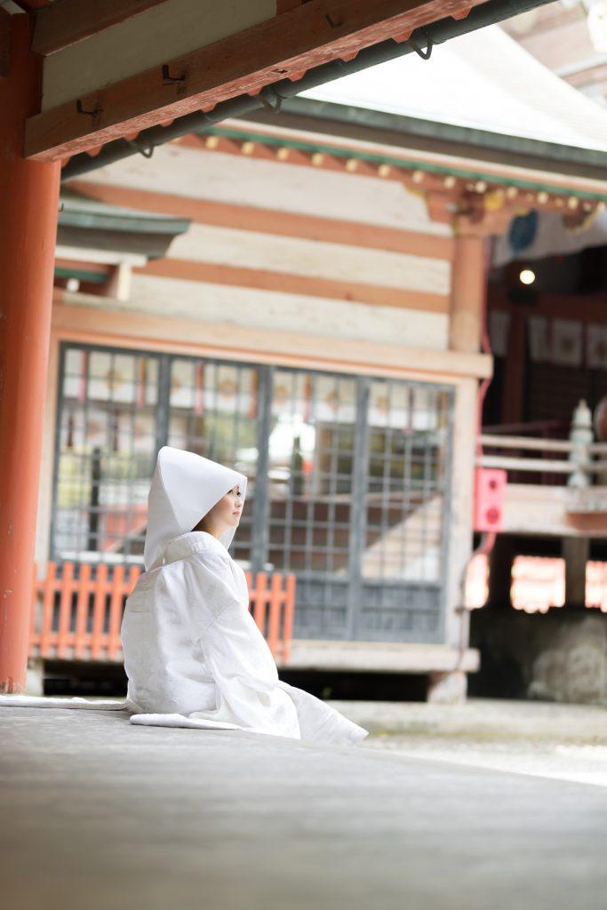 白無垢、綿帽子、の前撮りフォト