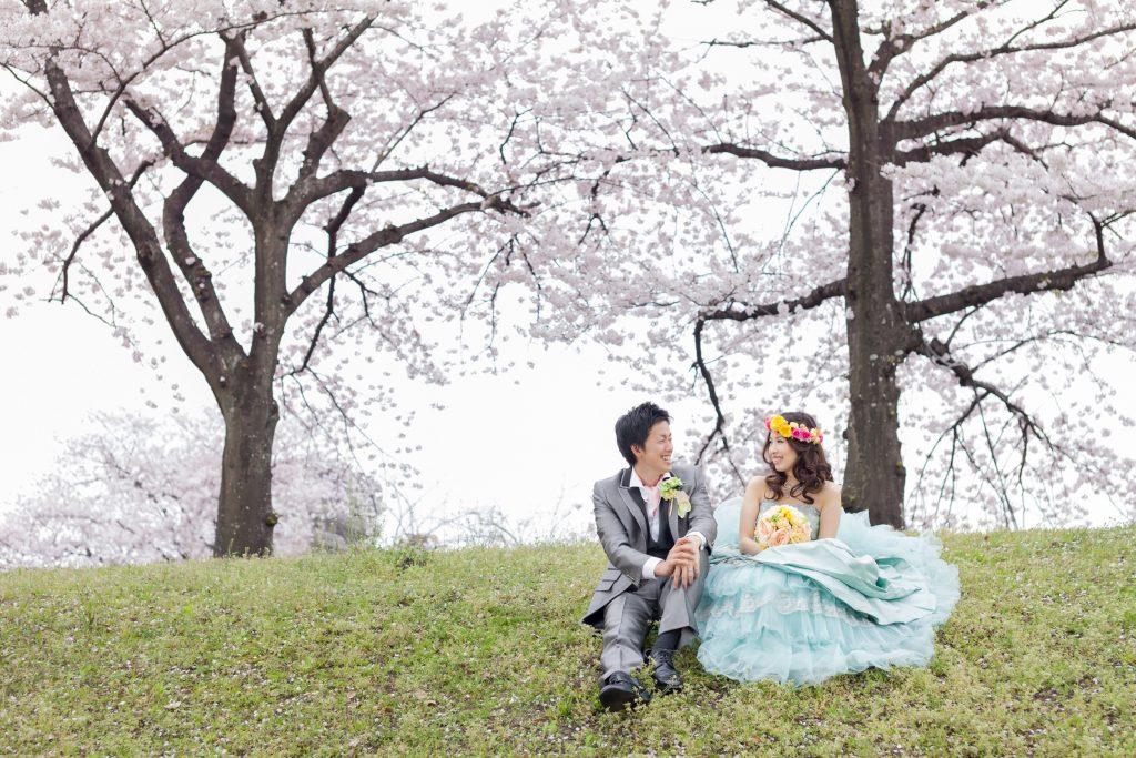 カクテルドレス、桜、の前撮りフォト