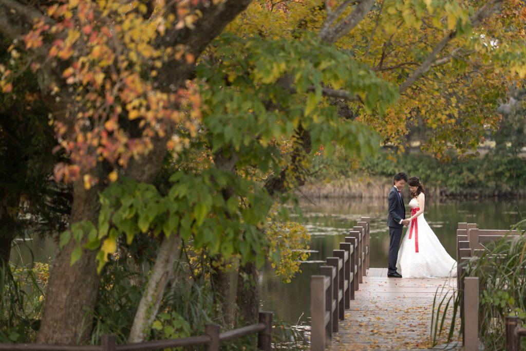 白ドレス、撮影小物、紅葉、の前撮りフォト