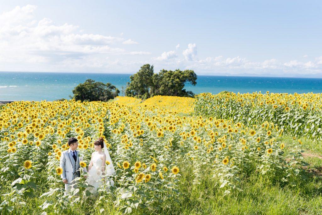 白ドレス、季節の花、海、の前撮りフォト