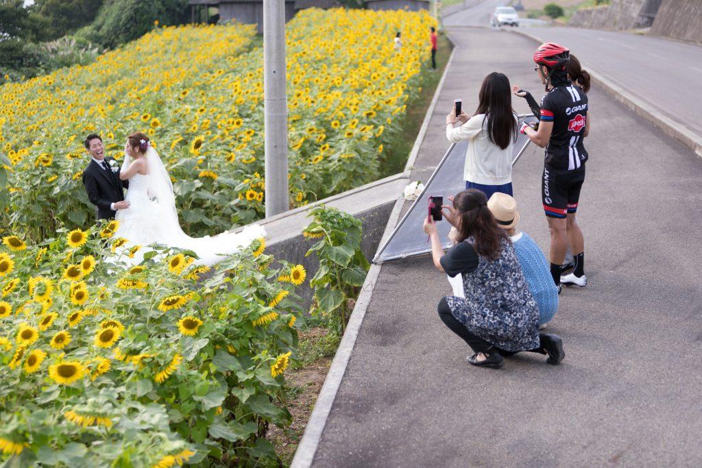 白ドレス、花、オフショット、の前撮りフォト