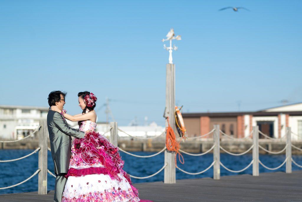 カクテルドレス、海、の前撮りフォト