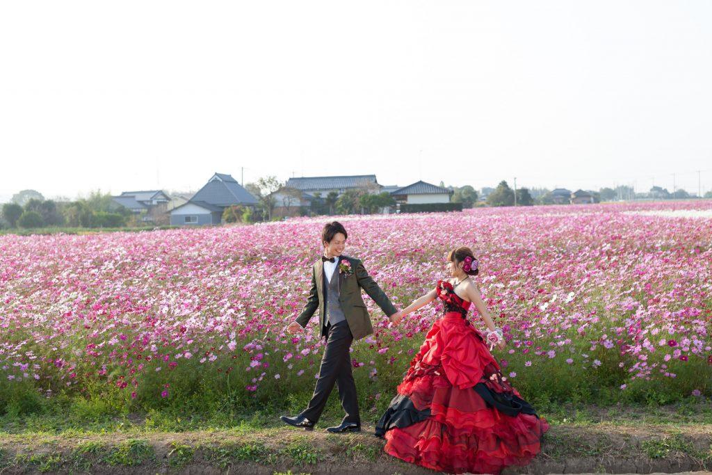 カクテルドレス、花、の前撮りフォト
