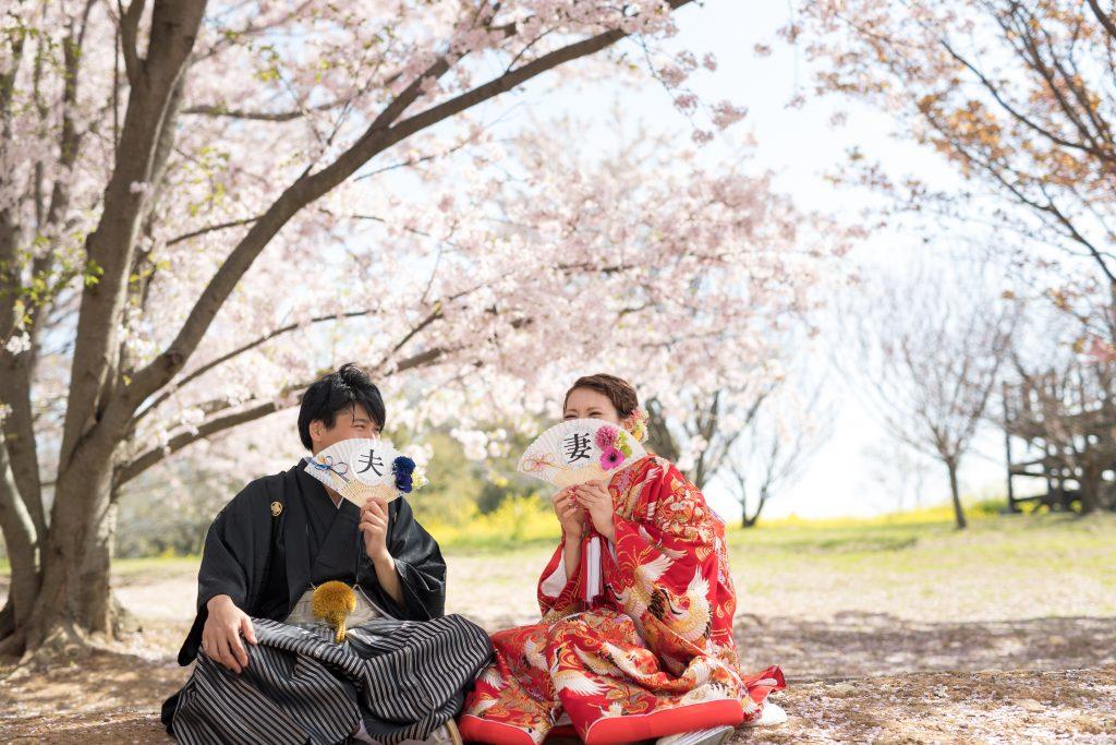 色打掛、桜、の前撮りフォト