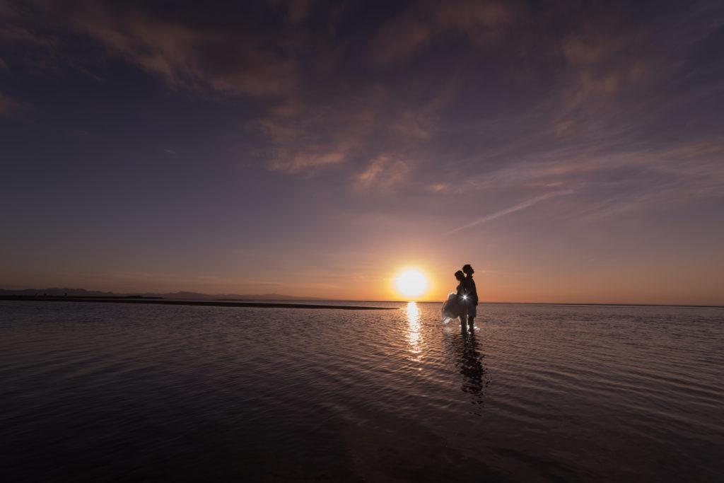 海、夕日、の前撮りフォト